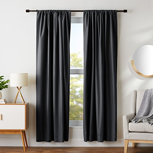 AmazonBasics Room Darkening Thermal Insulating Blackout Curtain Set with Tie Backs - 52 x 84 Inches, Black (2 Panels)