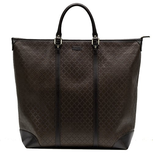 51NbLa68mXL Gucci Diamante Leather Large Zip Top Unisex Tote Bag 308896, Brown Model Number: 308896AIZ1G2044 Brown diamante pattern leather, unisex structured tote bag