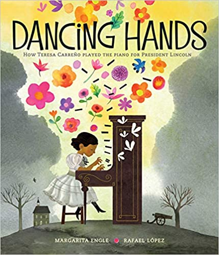 a book cover image of a young girl playing a large brown piano outside.  Brightly colored flowers are flying up into the air from her fingers/piano playing.
