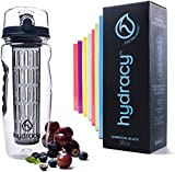 Hydracy Fruit Infuser Water Bottle - 32 Oz Sports Bottle with Full Length Infusion Rod, Time Mark and Insulating Sleeve Combo Set + 27 Fruit Infused Water Recipes eBook Gift - Charcoal Black