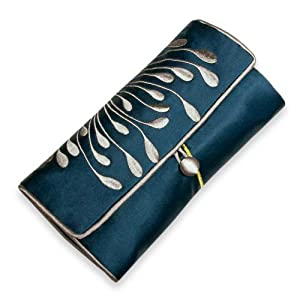 Embroidered Hyacinth Jewelry Roll, Large