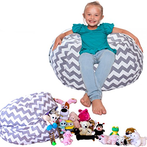 Lilly's Love Popular Chevron Storage Stuffed Animal Bean Bag Chair. 3% is Donated to The Buddy Bench Program.