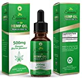 Hemp Oil for Pain Relief, 500mg Hemp Extract, Anxiety Relief, Lower Cholesterol, Boost Immune System, All Natural Supplement, Rich in Omega 3 and Omega 6 Fatty Acid, 1 Fl oz. (30ml) by Essencios