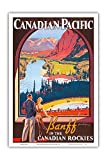 Banff in The Canadian Rockies - Lake Louise, Banff National Park - Canadian Pacific Railway Company - Vintage Railroad Travel Poster by James Crockart c.1936 - Master Art Print - 12in x 18in