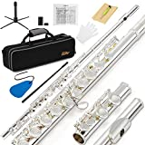 Eastar EFL-2 Open/Close Hole C Flutes 16 Keys Silver Plated Beginner Flute Set with Fingering Chart, Hard Case,Cleaning Rod,Cloth,Flute Swab,Screwdriver and Gloves