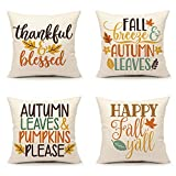 4TH Emotion Fall Quotes Saying Throw Pillow Cover Happy Fall Yall Thanksgiving Cushion Case for Sofa Couch 18x18 Inches Cotton Linen, Set of 4