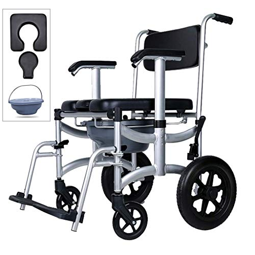 Nurth-4-in-1-Chair-Shower-Commode-Mobile-Chair-Commode-PU-Soft-backrestShower-Wheelchair-Mobile-Padded-Toilet-Seat-Shower-Brakes-Removable-Pedal-Adjustable-armrest-PU-Commode-Seat-and-Pail-330lb