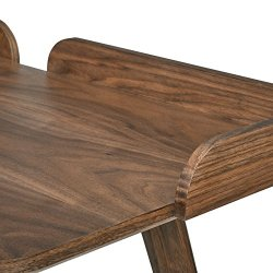 Amazon Brand – Rivet Mid-Century Curved Wood Table Home Office Computer Desk, 48.4″L, Walnut