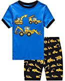Dolphin&Fish Boys Pajamas 100% Cotton Excavat Truck Summer Short Set Toddler Clothes Kids Pjs Sleepwear Size8
