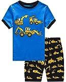 Dolphin&Fish Boys Pajamas 100% Cotton Excavat Truck Summer Short Set Toddler Clothes Kids Pjs Sleepwear Size8