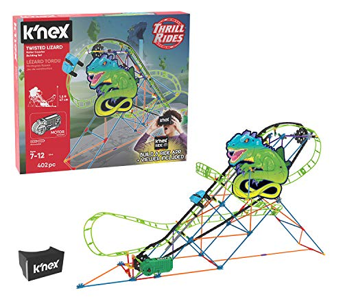 K'NEX Thrill Rides – Twisted Lizard Roller Coaster Building Set with Ride It! App – 402Piece – Ages 7-12 Building Set
