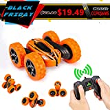 Distianert WJL00039  4WD Stunt Car High Speed Off Road 2.4G Remote Control Truck LED Headlights Electric Race Double Sided Car Tank Vehicle 360 Degree  Spins, Orange