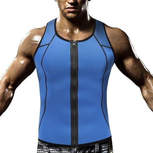 HOPLYNN Men Waist Trainer Vest for Weightloss, Hot Neoprene Corset Compression Sweat vest Body Shaper, Zipper Slimming Sauna Tank Top Workout Shirt -XL