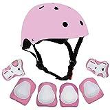 Sarik Kids Protective Gear Set, 7pcs Adjustable Toddler Helmet Elbow Knee Wrist Pads for Multi Sports Roller Bicycle BMX Bike Skateboard Hoverboard (Pink)