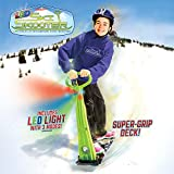 GeoSpace Original LED Ski Skooter: Fold-up Snowboard Kick-Scooter for Use on Snow and Grass, Assorted Colors (Red, Green, or Blue)