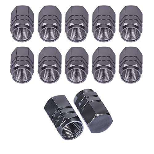 BEADNOVA Valve Stem Caps Aluminum Chrome Caps for Tires Valve Caps (12pcs Pack,Gun Gray)