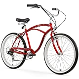 Firmstrong Urban Man Seven Speed Beach Cruiser Bicycle, 26-Inch, Red