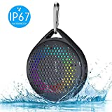 Shower Speaker - AVWOO IP67 Waterproof Bluetooth Speaker, Portable Bluetooth Speaker with Enhanced Bass and Built-in Mic, Mini Bluetooth Speaker with Compact Size for Home Outdoor Travel (Black)