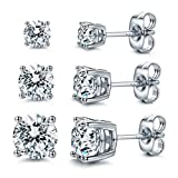 CZ Stud Earrings 925 Sterling Silver 18K Gold Plated Round Cubic Zirconia Hypoallergenic Set (White Gold Plated (3 Pairs))
