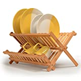 Folding Bamboo Dish Drying Rack - Wooden Kitchen Dish Rack Plate Holder Compact & Collapsible Drainer