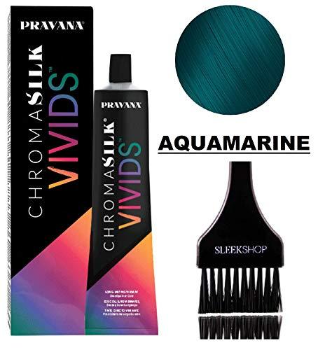 Pravana ChromaSilk VIVIDS CRYSTALS Hair Color Shades with Silk & Keratin Amino Acids Dye (with Sleek Brush) Haircolor Crystal (Aquamarine)