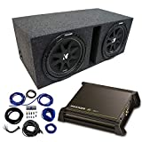 Dual 12' Kicker CompC Sub Package with Kicker 11DX250.1 Refurbished Amp & Vented Enclosure