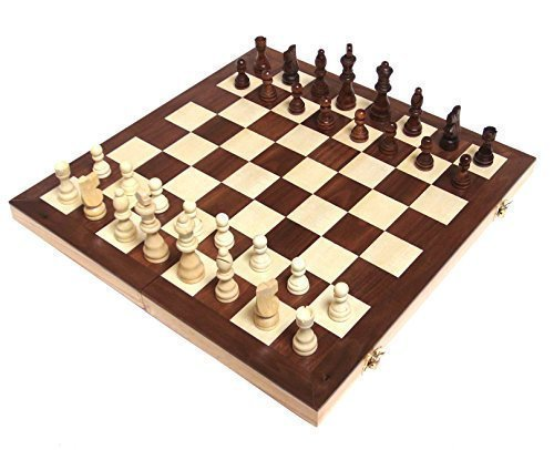 Wooden Chess Set with Felted Game Board Interior for Storage