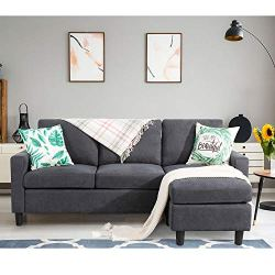 Shintenchi Convertible Sectional Sofa Couch, Modern Linen Fabric L-Shaped Couch 3-Seat Sofa Sectional with Reversible…