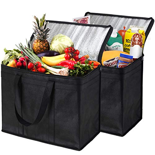 NZ Home XL Insulated Reusable Grocery Bags, Sturdy Zipper, Foldable, Washable, Heavy Duty,...