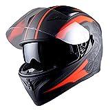 1STorm Motorcycle Street Bike Dual Visor/Sun Visor Full Face Helmet Mechanic Matt Red, Size Medium (55-56 CM,21.7/22.0 Inch)
