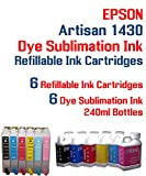 Dye Sublimation Ink - Artisan 1430 Printer Refillable Ink Cartridge Package - 6 Multi-Color Bottles 240ml Each Color - 6 Refillable Ink cartridges auto Reset Chips Installed - Artisan 1430 Printer
