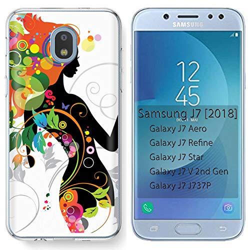 [Mobiflare] Samsung Galaxy (J7 2018) (J737) [J7 Aero / J7 Star / J7 Refine / J7 Top,] Ultraflex Thin Gel Phone Cover [Flower Girl Print]