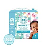 The Honest Company Super Club Box Diapers - Size 1 - Rose Blossom & Bunnies Print | TrueAbsorb Technology | Plant-Derived Materials | Hypoallergenic | 160 Count