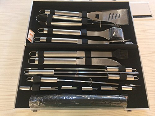 BBQ Grill Tools Set,18-Piece Utensil BBQ tool set & Grill Mats Stainless Steel Barbecue Grilling Utensils With Spatula Aluminum, Tongs, Fork,Basting Brush Fork,Corn Holders and Storage Case