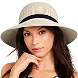 Sun Hats for Women StraFURTALK Women Brim Sun Hat Summer Beach Cap UPF50 UV Packable Straw Hat for Travel (Large, Adult NormalBrim Beige)