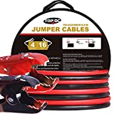 TOPDC 100% Copper Jumper Cables 4 Gauge 16 Feet 380AMP Heavy Duty Booster Cables with Carry Bag and Safety Gloves (4AWG x 16Ft)