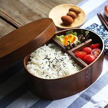 Boîtes à Lunch en Bois Box Bento Boîtes-repas pour les Etudiants Frais-conservation des Boîtes en Bois Boîtes Plateau Repas Vaisselle Bowl Bento Déjeuner au Micro-Ondes Conteneur des Aliments