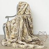 Best Home Fashion Faux Fur Throw - Full Blanket - Kitt Fox - 58'W x 84'L - (1 Throw)
