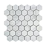 Carrara White Italian (Bianco Carrara) Marble 2 inch Hexagon Mosaic Tile, Polished