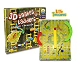 Little Treasures 3D Snakes N Ladders Kids Classic Board Game Family Night Fun Cooler Newer Look Then The Original Version Compare to Chutes and Ladders