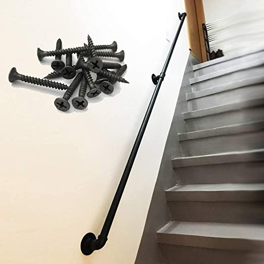 Amazon Com Cmmc 1Ft 2Ft Handrail For Stairs Industrial Wrought   Black Pipe Stair Railing   Diy   90 Degree Stair   Banister   Outdoor Stair   Stainless Steel