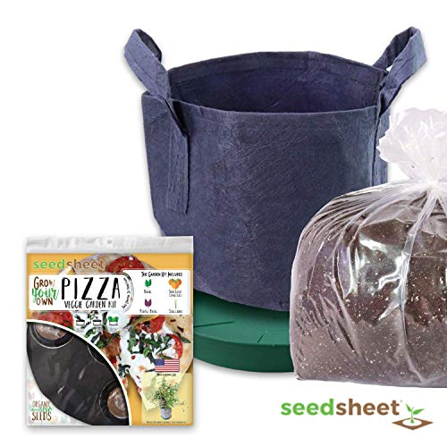 Seedsheet, Grow Your Own Pizza Container Garden, Organic Seed Pods, Basil, Sun Gold Tomato, Scallions, Complete Kit, As Seen on Shark Tank