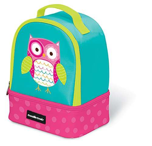 Crocodile Creek Eco Kids Owl Insulated Two Compartment Girls Lunchbox with Handle, 9.5'