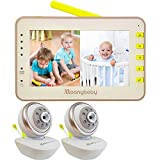 Video Baby Monitor 2 Cameras, Split Screen by Moonybaby, Pan Tilt Camera, 170 Degree Wide View Lens Included, 4.3 inches Large Monitor, Night Vision, Temperature, 2 Way Talk Back, Long Range