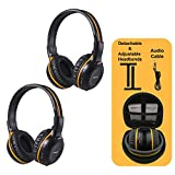 2 Pack of IR Wireless Headphones for Car DVD/TV, 2 Channel Car Headphones for Kids with 3.5mm Aux Cord, Cars Kids Headphones