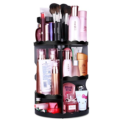 MOFIR Makeup Organizer 360 Degree Rotating, Adjustable Multi-Function Cosmetics Storage Box, Small Size Extra Large Capacity, Fits Different Sizes of Cosmetics … (Flower, Black)