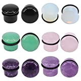 6Pairs 4g-11/16' Multiple Stone Single Flared Ear Plugs with Silicone O-Ring Expander Gauges (Gauge=00g(10mm))