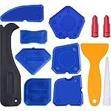 Hestya 12 Pieces Caulking Tool Kit Silicone Sealant Finishing Tool Grout Scraper Caulk Remover and Caulk Nozzle and Caulk Caps (Blue)