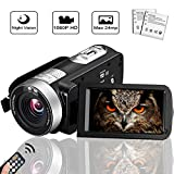 Camcorder Digital Camera Full HD 1080p 18X Digital Zoom Night Vision Pause Function with 3.0' LCD and 270 Degree Rotation Screen with Remote Controller