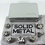 Paladin Roleplaying Silver Metal Dice - Full Polyhedral Set - in Presentation Case